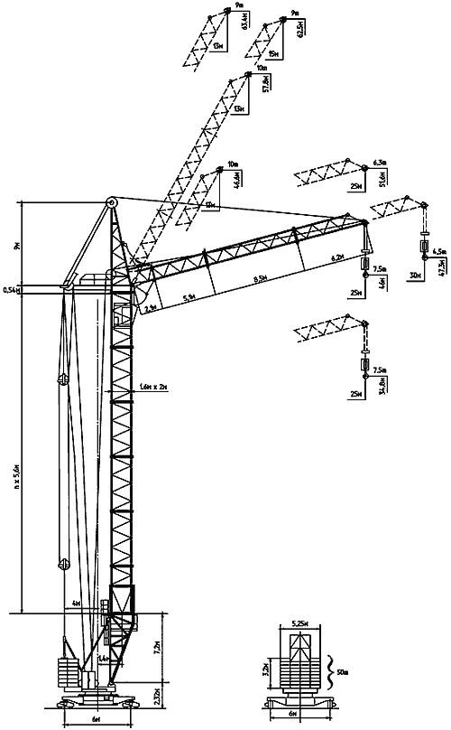 Технические характеристики башенного крана КБ-405