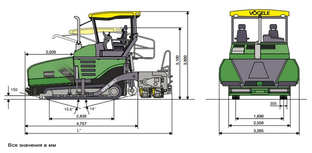 Технические характеристики асфальтоукладчика Vogele Super 1800-2