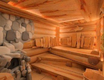 Банное помещение внутри дома